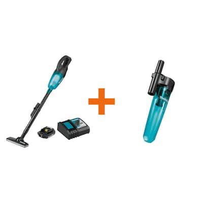 18-Volt LXT Lithium-Ion Compact Cordless Vacuum Kit, 2.0Ah with Black Cyclonic Vacuum Attachment