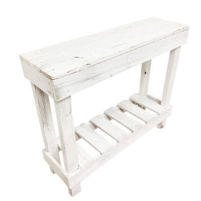 36 in. Distressed White Standard Rectangle Wood Console Table with Storage