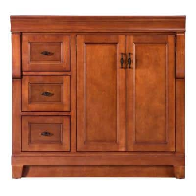 Naples 36 in. W Bath Vanity Cabinet Only in Warm Cinnamon with Left Hand Drawers
