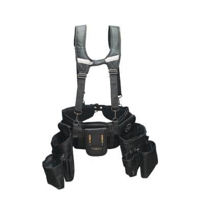 Journeyman's Framers 2 Pouch Tool Storage Suspension Rig with Suspenders in Black