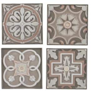 Multi-Color Hand-Carved Abstract Wood Wall Art (Set of 4)