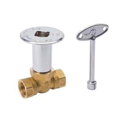 1/2 in. FIP Brass Straight Gas Valve, Floor Plate and 3 in. Key in Chrome
