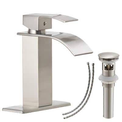 Waterfall Single Hole Single-Handle Low-Arc Bathroom Faucet With Pop-up Drain Assembly in Brushed Nickel
