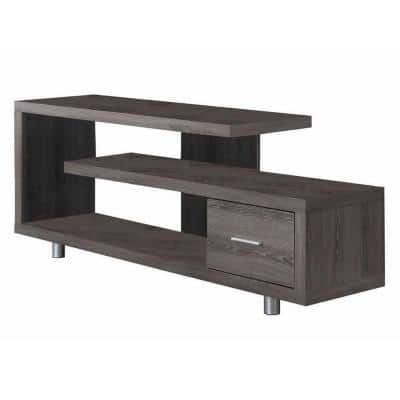 60 in. Dark Taupe Modern Art Deco TV Stand with 1-Drawer