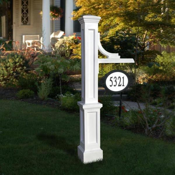 Mayne Woodhaven 56 In Tall White, Lamp Post Hanging Address Sign