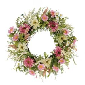 24 in. Artificial Chrysanthemum and Daisy Floral Spring Wreath