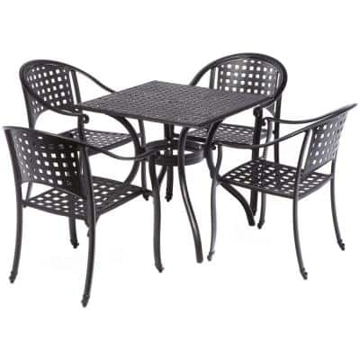 5-Piece Milano Black Outdoor Bistro Set, 31.5 in. Square Table with Umbrella Hole and 4 Stackable Chairs