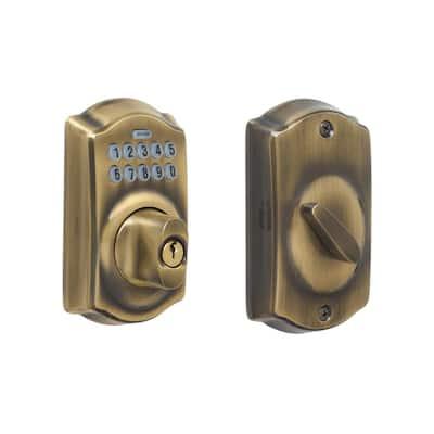 Camelot Antique Brass Keypad Electronic Door Lock Deadbolt