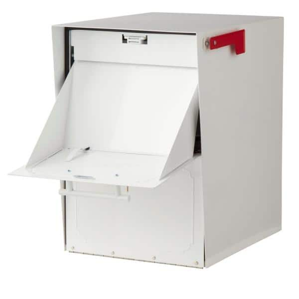Architectural Mailboxes Oasis Post Mount Or Column Mount Locking Mailbox In White With Outgoing Mail Indicator 5100w The Home Depot