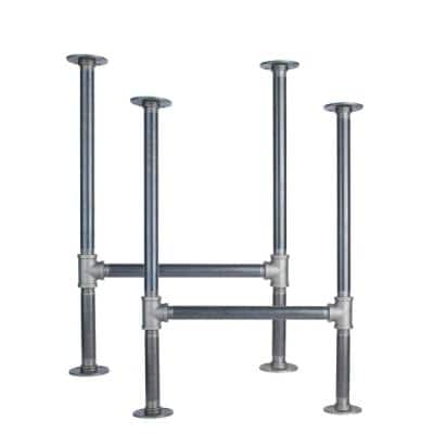 """1 In. Heavy Duty Industrial Pipe """"H"""" Style Desk Leg With Round Flanges - 2 Pack"""