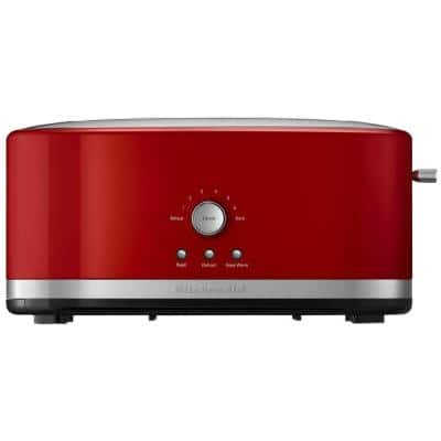 Empire 4-Slice Red Long Slot Toaster with Crumb Tray