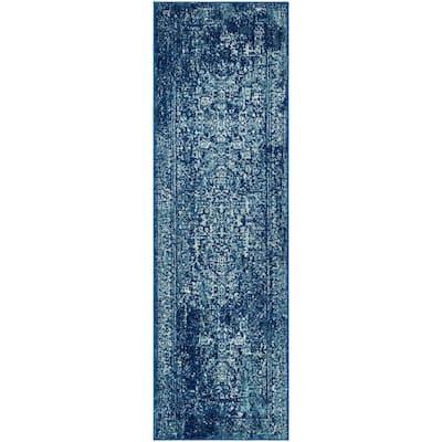 Evoke Navy/Ivory 2 ft. x 13 ft. Border Runner Rug