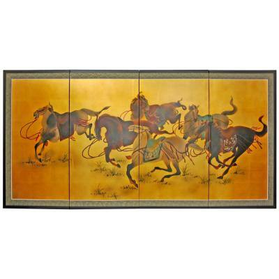"""36 in. x 72 in. """"Riders in the Storm on Gold Leaf"""" Wall Art"""