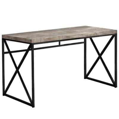 48 in. Rectangular Taupe/Black Writing Desk with Open Storage