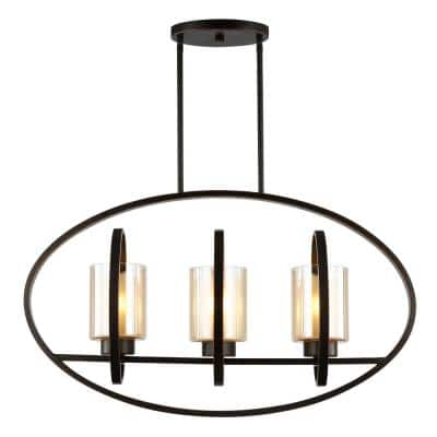 Scala 3-Light Oil Rubbed Bronze/Clear Island Light with Glass Shades