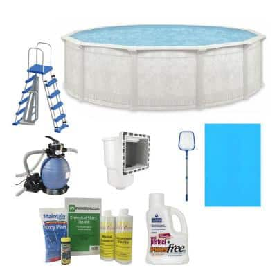 Aquarian Khaki Venetian 4.3 ft. x 52 in. Round 15 ft. Complete Deep Hard Side Above Ground Swimming Pool Package