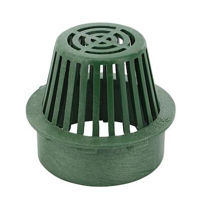 6 in. Plastic Round Atrium Drainage Grate in Green