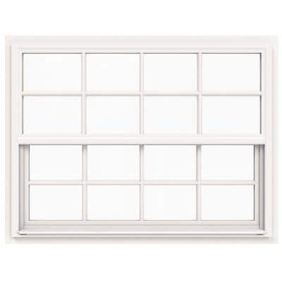 48 in. x 36 in. V-4500 Series White Single-Hung Vinyl Window with 8-Lite Colonial Grids/Grilles