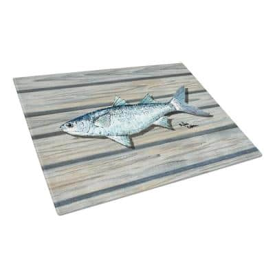 Fish Mullet Tempered Glass Large Cutting Board