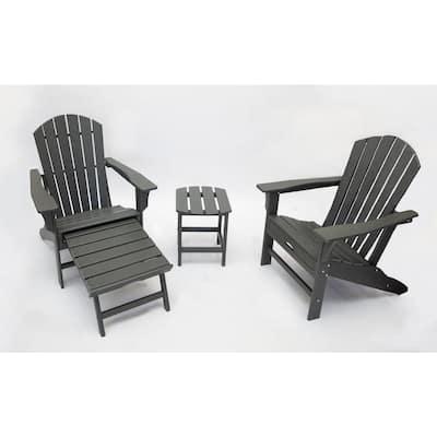Hampton Gray Plastic Outdoor Patio Adirondack Chairs with Hideaway Ottoman (3-Piece)
