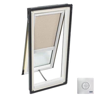 21 in. x 54-7/16 in. Solar Powered Venting Deck-Mount Skylight w/ Laminated Low-E3 Glass and Beige Room Darkening Blind