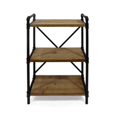 Honeysuckle 39.5 in. Black Metal 3-Shelf Etagere Bookcase with Open Back