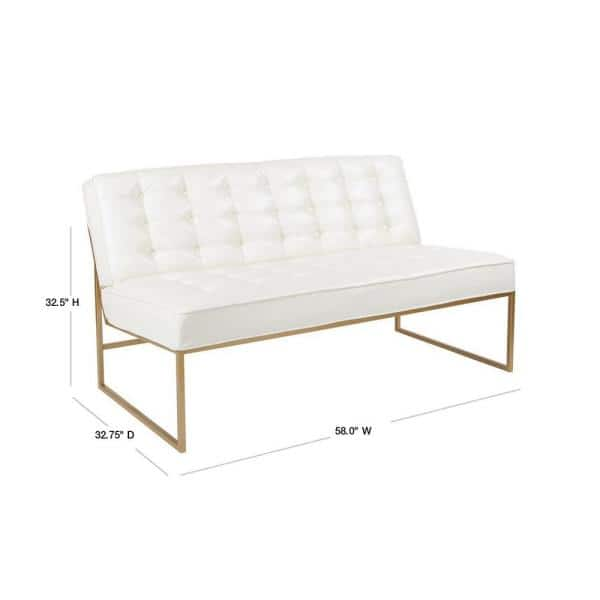 Office Star Products Anthony 58 In White Faux Leather 2 Seater Armless Loveseat With Gold Base Ath52cg W32 The Home Depot