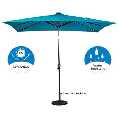 9 ft. x 7 ft. Rectangular Next Gen Solar Lighted Market Patio Umbrella in Teal