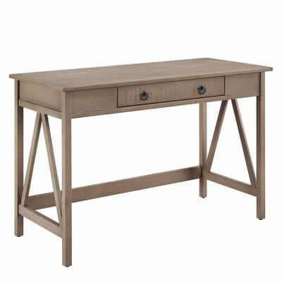 46 in. Rectangular Rustic Gray 1 Drawer Writing Desk with Built-In Storage