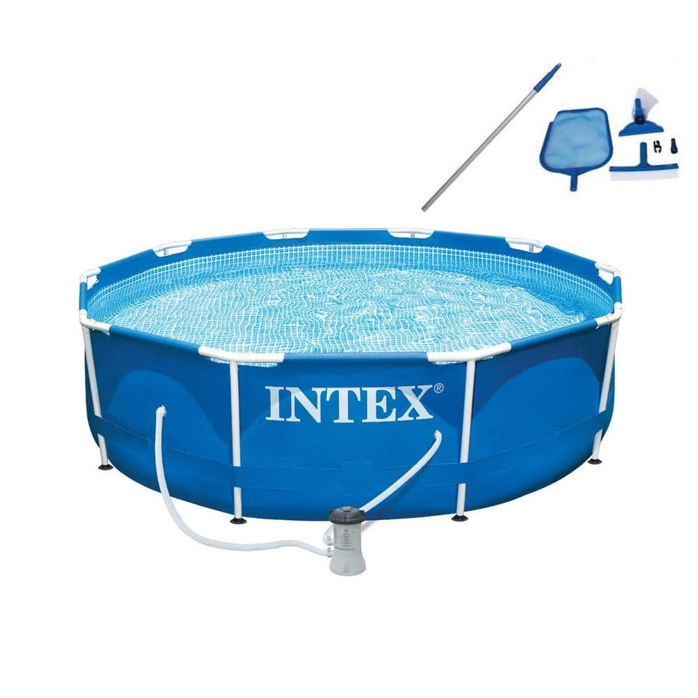 Intex 10 Ft X 30 In Deep Metal Frame Round Swimming Pool With Filter Pump And Maintenance Kit 28201eh 28002e The Home Depot