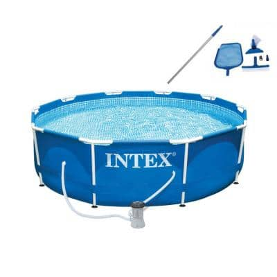 10 ft. x 30 in. Deep Metal Frame Round Swimming Pool with Filter Pump and Maintenance Kit