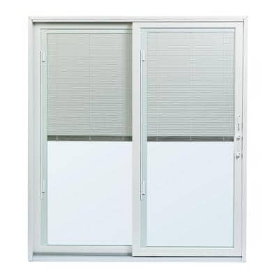 70-1/2 in.x79-1/2 in. 200 Series White Left-Hand Perma-Shield Gliding Patio Door with Built-In Blinds and White Hardware