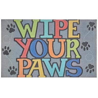 Paw Stitch Grey 18 in. x 30 in. Doorscapes Mat