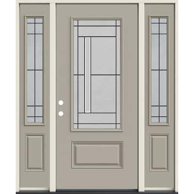 60 in. x 80 in. Right-Hand 3/4 Lite Decorative Glass Atherton Desert Sand Fiberglass Prehung Front Door w/Sidelites