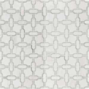 Bianco Gridwork 12 in. x 12 in. x 10mm Polished Marble Mesh-Mounted Mosaic Tile (10 sq. ft./Case)