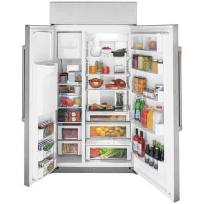 24.5 cu. ft. Smart Built-In Side by Side Refrigerator with Hands Free Autofill Dispenser in Stainless Steel