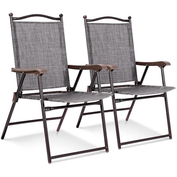 Costway Gray Metal Outdoor Patio, Beach Patio Furniture