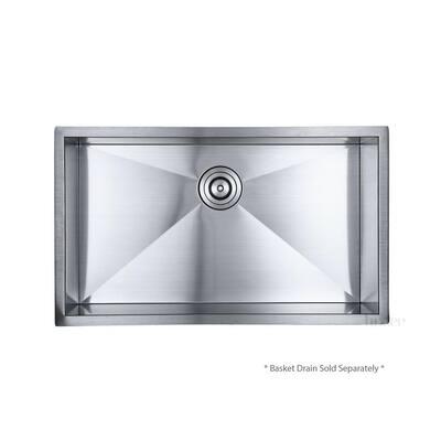 Handmade Undermount Stainless Steel 32 in. Single Bowl Kitchen Sink 18 Gauge