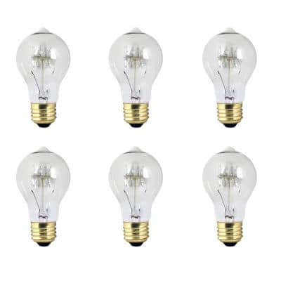 40-Watt A19 Dimmable Incandescent Amber Glass Vintage Edison Light Bulb with Tungsten Filament Soft White (6-Pack)