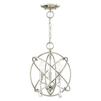 Aria 3 Light Polished Nickel Convertible Mini Chandelier/Ceiling Mount