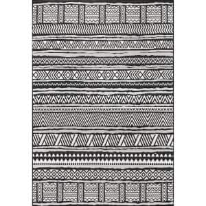 Abbey Tribal Striped Black 5 ft. x 8 ft. Indoor/Outdoor Area Rug
