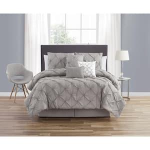 7-Piece Grey Smoked Circle Embellished Microfiber King Comforter Set
