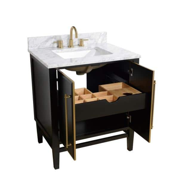 Avanity Mason 31 In W X 22 In D Bath Vanity In Black With Gold Trim With Marble Vanity Top In Carrara White With White Basin Mason Vs31 Bkg C The Home Depot