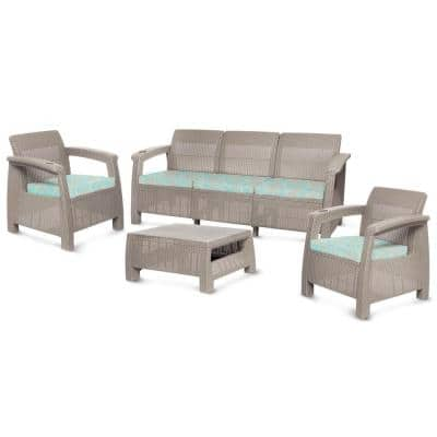 Ferrara Taupe 4-Piece Plastic Outdoor Patio Sofa Set with Turquoise Palm Print Cushions