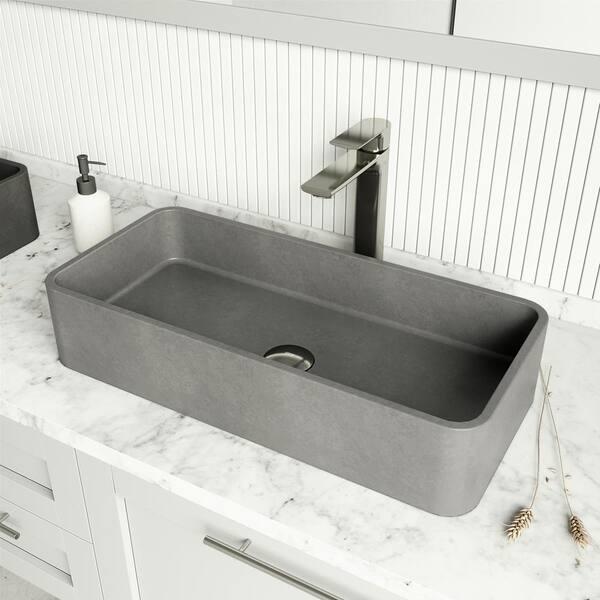 Vigo Concreto Stone 24 In Concrete Rectangular Vessel Bathroom Sink Gray Vg04060 The Home Depot
