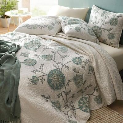 Alden Floral Embroidered Cotton Linen Quilt