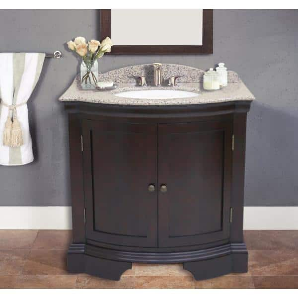 Cadhia 36 In Beige Granite Vanity Top With Single Basin In White And Backsplash Wf6830 36 The Home Depot
