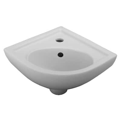 17.37 in. Corner Wall-Hung Petite Bathroom Sink in White