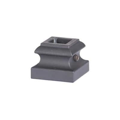 Square Hole 1.3125 in. Aluminum Level Shoe Baluster Shoe Satin Black
