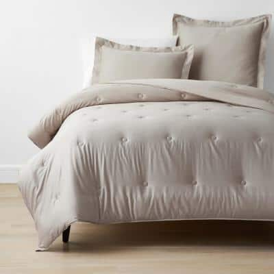 Sand Solid Bamboo Cotton Sateen Tufted Full Comforter